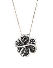 Black Diamond And 14K White Gold Flower Pendant, 1.98 TCW