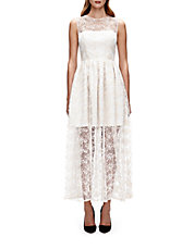 Lace-Overlay A-Line Dress