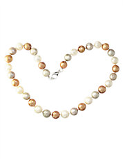 Sterling Silver Multi-Colored Pearl Necklace