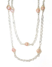 Sterling Silver Pink Freshwater Pearl Necklace
