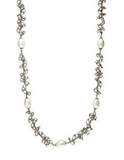 Pearl Lace Sterling Silver & Freshwater Pearl Textured Necklace