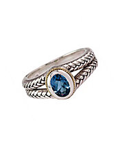 Balissima Sterling Silver and 18Kt Yellow Gold Ring with Blue Topaz Stone