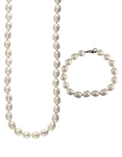 Sterling Silver and Pearl Necklace and Bracelet Set