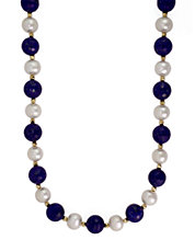 14K Yellow Gold Pearl and Lapis Necklace