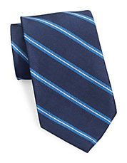 Asymmetrical Striped Silk Tie