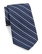 Block-Striped Silk Tie
