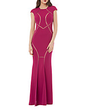 Illusion Mesh-Inset Cap Sleeve Gown