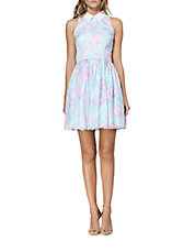 Abstract Print Pleated A-Line Dress