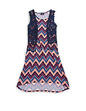 Girls 7-16 Two-Piece Crocheted Top And Maxi Dress Set