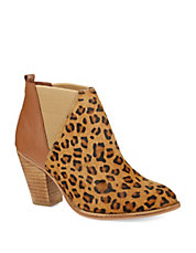 Vaxio Leather and Leopard Print Calf Hair Booties