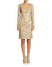 Long Sleeved Beaded Sheath Dress