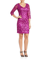 Sequined V-Neck Sheath Dress