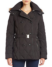 Convertible Faux Fur-Trimmed Quilted Coat