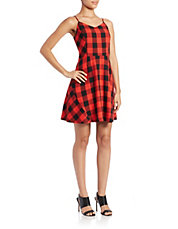 Checked Fit-and-Flare Dress