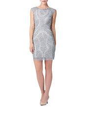 Beaded Cap-Sleeve Sheath Dress