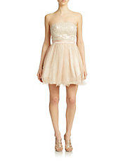 Strapless Glitter and Lace Dress