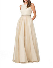 Metallic Pleated A-Line Gown