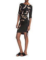Side Zip Feather Printed Dress
