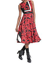 Placement Floral Fit-and-Flare Dress
