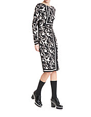 Patterned Silk Stretch Sheath Dress