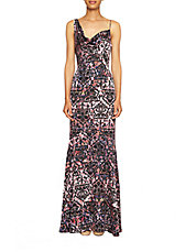 Abstract Print Bodycon Maxi Dress