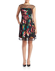 Dot Overlay Floral Fit and Flare Dress