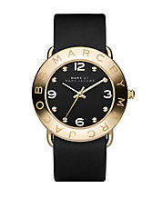 Ladies Black and Goldtone Amy Watch