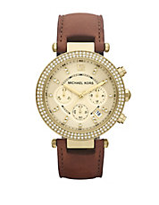 Ladies Parker Goldtone Glitz Watch with Brown Leather Strap