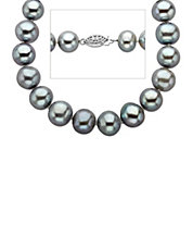 Grey Pearl Strand Necklace in Sterling Silver 18 inches 11MM
