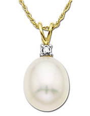 Freshwater Pearl Pendant with Diamond Accent in 14 Kt. Yellow Gold 8MM