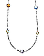 Sterling Silver with 14 Kt. Yellow Gold Semi Necklace