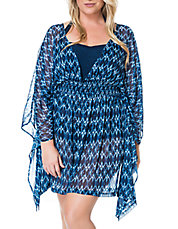 Plus Graphic Print Chiffon Cover-Up