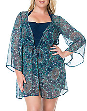 Plus Graphic Print Chiffon Cover-Up with Tie
