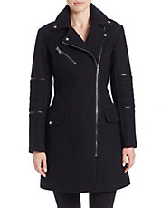 Leather-Trimmed Wool-Blend Coat