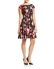 Floral-Print Cap-Sleeve Fit-and-Flare Dress