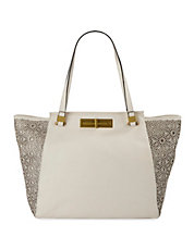 Daphne Leather Floral-Eyelet Shoulder Tote