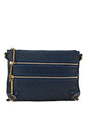 Messina Leather Three Zip Clutch