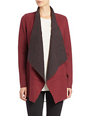 Plus Wool-Blend Open-Front Cardigan