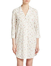 Bingham Three-Quarter Sleeve Sleep Shirt