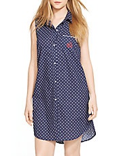 Collared Polka Dot Nightgown