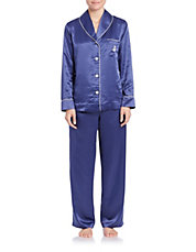 Shawl-Collar Satin Pajama Set