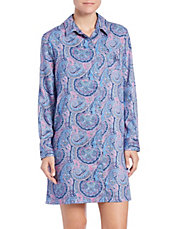 Printed Long-Sleeve Sleepshirt