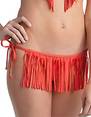 Coral Fringe Side-Tie Hipster Swim Bottoms