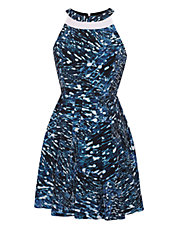 Abstract Print Pleated A Line Dress