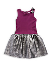 Girls 7-16 Metallic Peplum Dress