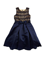 Girls 7-16 Bow Front Lace Dress