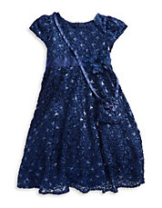 Girls 2-6x Sequined Floral Dress And Purse Set