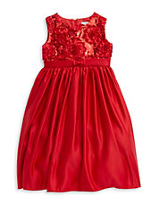 Girls 2-6x Sequined Satin Dress