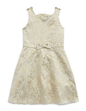 Girls 7-16 Metallic Floral Dress