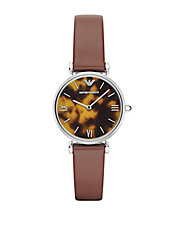 Ladies Silvertone Tortoise Leather Watch